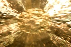 Gong. Close up o f a gold gong with blur Royalty Free Stock Photography