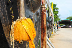 Gong Buddhist. Wood wrapped with cloth for Buddhist the gong after hitting a philanthropy in Buddhism Stock Image