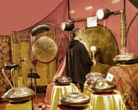 Gong Player at the Festival of the Orient in Rome Italy. The Festival of the Orient was held at the Exhibition Centre near Rome Airport at Fumincino on the Stock Photography