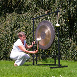 Gong sound healing. Gong used for sound healing; the gong resonates all the cells of the body simultaneously and is usefull in resolving emotional and physical Royalty Free Stock Photo