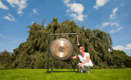 Gong sound healing. Gong used for sound healing; the gong resonates all the cells of the body simultaneously and is usefull in resolving emotional and physical Royalty Free Stock Images