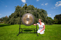 Gong sound healing stock photos