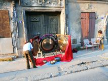 Gong. Street player musician music free peoples singing bowls gong Royalty Free Stock Photography
