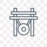 Gong wektorowa ikona odizolowywająca na przejrzystym tle, liniowy gong ilustracja wektor