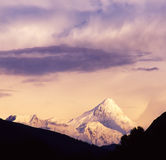 Gongga snow mountain at sunset Royalty Free Stock Photography
