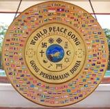 Gongo de la paz de mundo en Vientián Imágenes de archivo libres de regalías