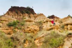 Gongoni, desfiladeiro do solo vermelho, Índia Foto de Stock Royalty Free