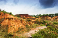 Gongoni, grand canyon of west bengal, India. Gongoni, called grand canyon of west bengal, gorge of red soil, India with MR Stock Image