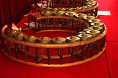 Gongos de la dimensión de una variable redonda - instrumentos musicales tailandeses Imágenes de archivo libres de regalías