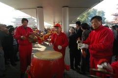 Gongos y tambores-Shehuo Imagenes de archivo