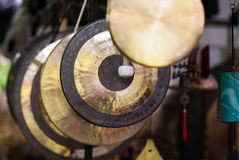 Gongs in various sizes Stock Image