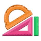 Goniometro del triangolo del righello Fotografie Stock Libere da Diritti