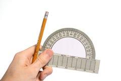 goniometro e matita disponibili fotografia stock libera da diritti