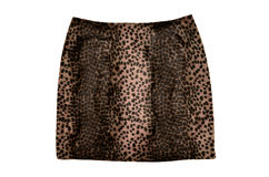 Gonna della pelle del leopardo isolata su fondo bianco Immagini Stock