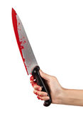 Gonna Get You. A hand holding a large blood covered knife on a white isolated background Stock Photo