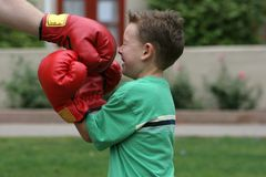 This is gonna hurt. Hit me with your best shot. Boxing in the park Royalty Free Stock Photography