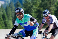 Gonzalo Armendariz in the Coeur d' Alene Ironman cycling event Stock Photos