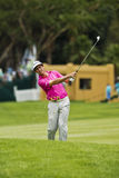 Gonzalo Fernández-Castaño. Clubbing the ball up the 1st fairway, toward the green Stock Photo