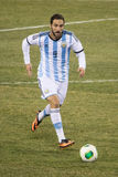 Gonzalo Higuain. This image shows Napoli superstar Gonzalo Higuain during a pre World Cup friendly between Argentina and Ecuador on November 15, 2013 at MetLife royalty free stock photography
