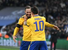 Gonzalo Higuain and Paulo Dybala goal celebration Stock Images