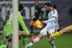 Gonzalo Higuain takes a shot Royalty Free Stock Photo