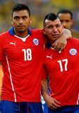 Gonzalo Jara and Gary Medel  Coupe du Monde 2014 Stock Photography