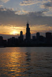 Good afternoon Chicago. Nice sunset scene, and sun is sparkling behind Sears Tower, Chicago royalty free stock image