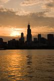 Good afternoon Chicago. Nice sunset scene of Chicago, portrait stock photography