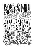 Good afternoon hand drawn lettering in different languages. Vector illustration Stock Photography