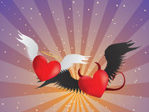 Good And Evil Hearts Background Stock Images