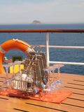 Good appetite. A table on the deck of cruise ship stock photography