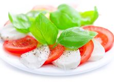 Good appetite. Italian mozzarella and tomato salad with basil leaves. Mozzarella and tomato salad with fresh, green basil leaves and ground pepper grains Stock Photos