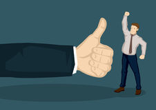Good Appraisal for Employee Vector Illustration. Cartoon man in work wear raising fist up in victory gesture and a huge hand with thumbs up gesture beside him Stock Image