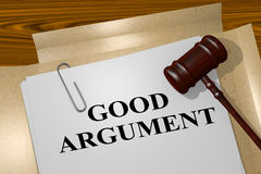 Good Argument - legal concept. 3D illustration of GOOD ARGUMENT title on legal document Royalty Free Stock Photos