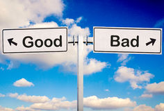 Good or bad. Sign over the sky Stock Photography