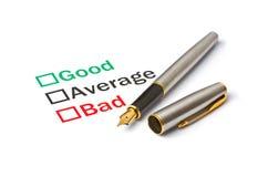 Good, Bad or Average Stock Photo