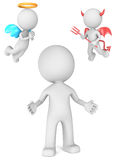 Good or bad choices. The Dude with Angel and Devil.  3D little human character Royalty Free Stock Photography