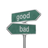 Good and bad concept. 3d render of good and bad concept roadsign board isolated on white background Stock Photography
