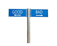 Good and bad concept roadsign board isolated on white. Background Stock Photos