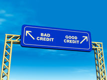 Good or bad credit path. Road to good and bad credit splitting lanes or exits on a highway, some financial decisions can lead to good, while others lead to bad stock illustration