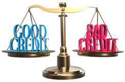 Good or bad credit scales balance choice Stock Photo