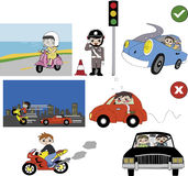 Good and bad driving habit illustration. Including legal and illegal things and manner of traffic rules Royalty Free Stock Image