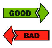 Good and Bad Green and Red Direction Arrows. Royalty Free Stock Photo