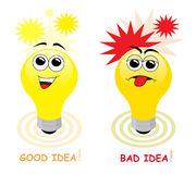 Good and bad idea. Light bulb cartoon characters with happy and angry face symbolizing a good and a bad idea vector illustration