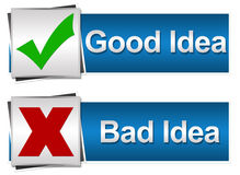 Good bad Idea Button Style Stock Photo