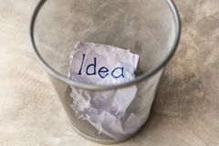 Good or bad Idea is thrown into a trash stock images