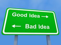 Good and bad ideas sign. Conceptual illustration of green pointing to good and bad ideas; blue sky background Stock Photography