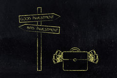 Good and bad investment directions and bag of cash next to it Stock Image