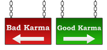 Good Bad Karma. Good or bad karma concept with red green signboard with text Royalty Free Stock Photos