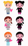Good and bad kids with hearts. Positive and negative kids set. Vector Illustration Royalty Free Illustration